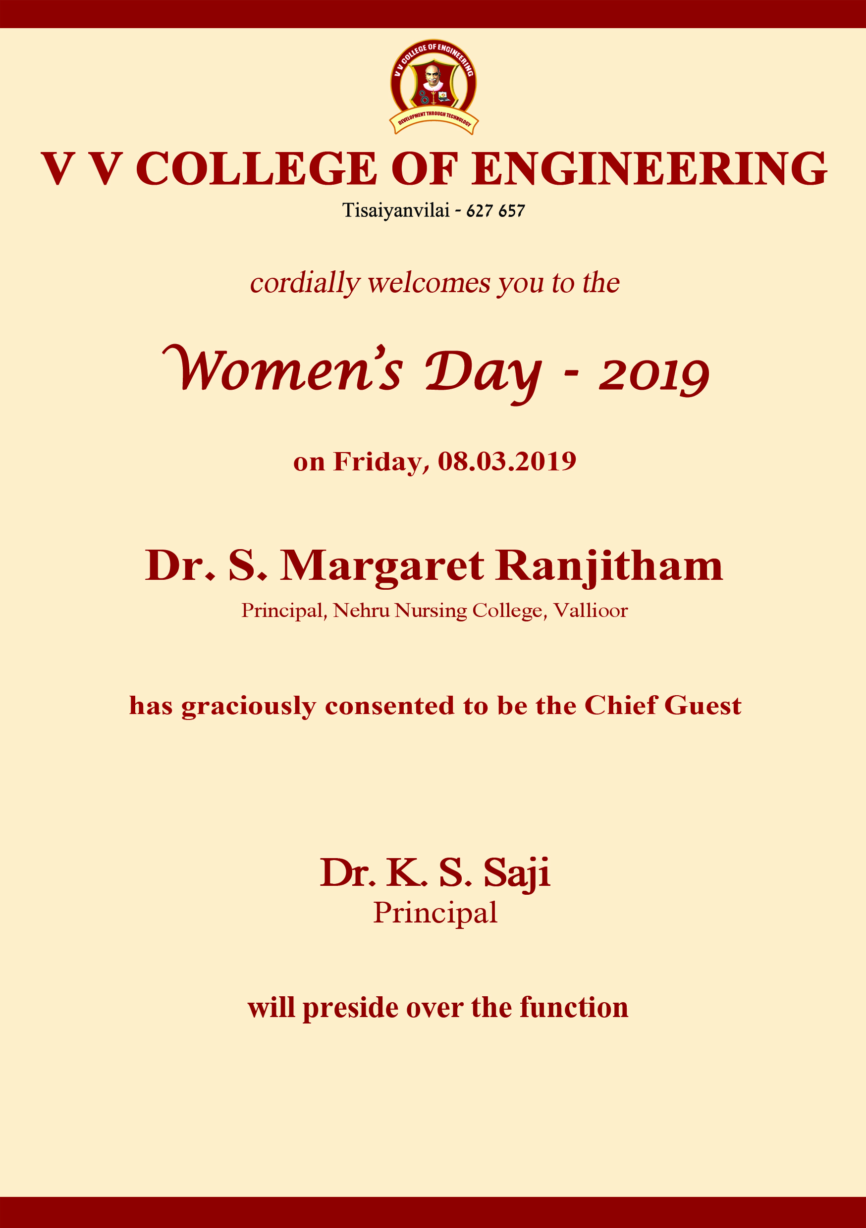 VV College proudly celebrates Women's Day 2019 on 8th March