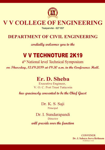 Department of Civil Engineering is organizing the 6th National Level Technical Symposium VV TECHNOTURE 2K19 on 12 September 2019