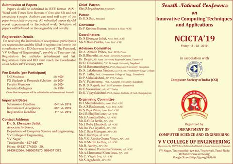 Department of Computer Science & Engineering  is organizing  Fourth National Conference on  Innovative Computing Techniques and Applications  -  NCICTA '19  -   on 15th February 2019
