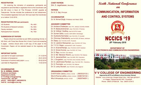 Department of Electronics & Communication Engineering is Conducting Sixth National Conference on Communication, Information & Control Systems - NCCICS'19 - on 20th February 2019