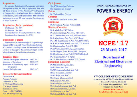 Second National Conference on Power and Energy (NCPE - '17) 23 March 2017