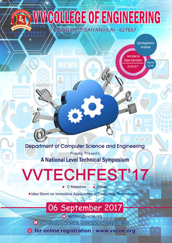 Department of CSE proudly organizes National Level Technical Symposium VV TECHFEST'17 on 06th Sep 2017