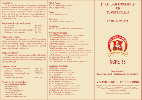 Department of EEE announces One Day National Conference on Power & Energy NCPE '18 to be held on 23-03-2018