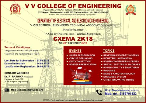 Department of EEE announces   One Day National Level Technical Symposium   CXEMA 2K18   to be held on 28-09-2018.