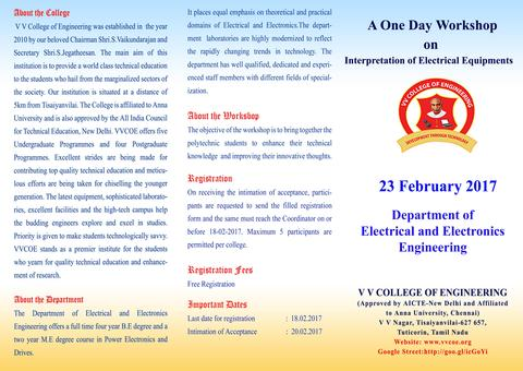 EEE Department is conducting a one day workshop on Interpretation of Electrical Equipment's on 23rd FEB 2017