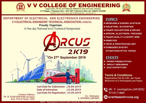 Department of Electrical & Electronics Engineering is organizing a National Level Technical Symposium - ARCUS-2K19 on  27 September 2019
