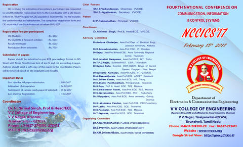 National Conference on Communication, Information & Control Systems (NCCICS'17)