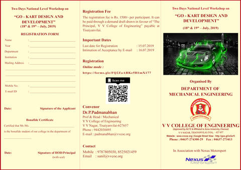 Department of Mechanical Engineering is organizing a Two Days National Level Workshop on