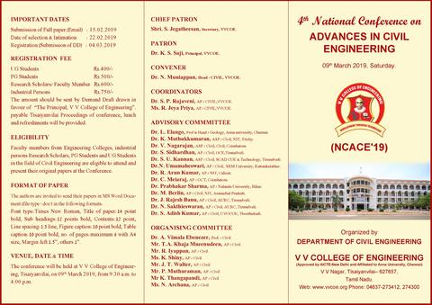 Department of Civil Engineering is organizing a one-day National Conference on Advances in Civil Engineering on 9th March 2019