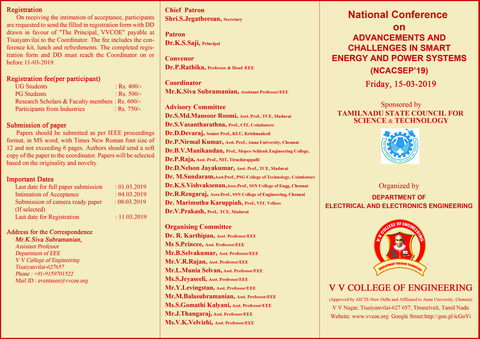 Department of EEE announces One Day National Conference on Advancements and Challanges in Smart Energy and Power Systems ( NCACSEP '19 ) to be held on 15-03-2019