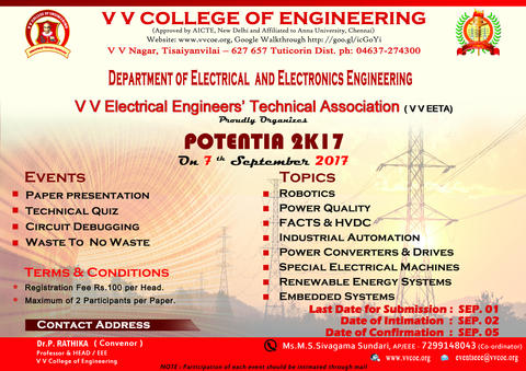 Department of EEE announces One Day National Level Technical Symposium POTENTIA 2K17 to be held on 07-09-2017