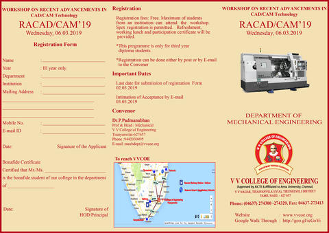 Department of Mechanical Engineering is organizing a Workshop on ''Recent Advancements in CAD/CAM Technology'' (RACAD/CAM'19) on Wednesday, 6th March 2019.