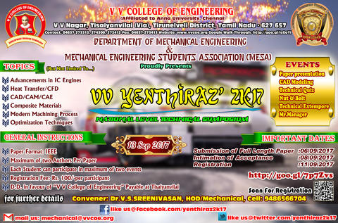 Department of Mechanical Engineering is organizing 5th National level Technical Symposium