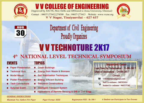 Department of Civil Engineering Proudly Organises 4th National Level Technical Symposium VV TECHNOTURE 2K17 on 30th August 2017