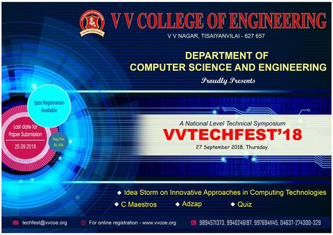 Department of Computer Science &  Engineering  is organizing a  National level Technical Symposium  on Innovative approaches in Computing Technologies  VV Techfest '18  on 27th September 2018