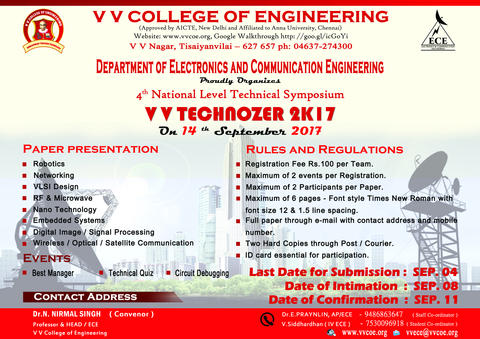 Department of ECE announces 4th National Level Symposium V V  TECHNOZER 2K17 on 14th September 2017