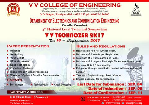 Department of ECE announces 4th National Level Symposium V V  TECHNOZER 2K17 on 14th September 2017