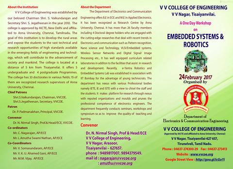 ECE Department is conducting a one day workshop on Embedded systems & Robotics  on 24th FEB 2017